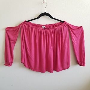 Splendid NWT Pink Modal Off The Shoulder Long Tee